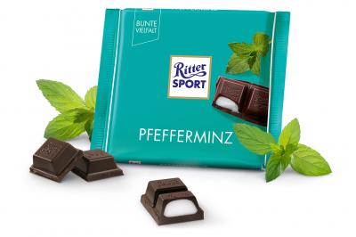Шоколад чорний Ritter Sport з кремово-м'ятною начинкою 100 г * 5 шт