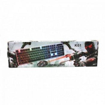 Комплект UKC клавіатура і миша з LED підсвічуванням 104 клавіші 44см Чорний (K01-5559)