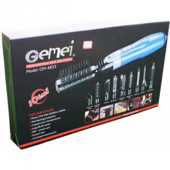Прилад для укладання волосся Gemei 10 в 1 стайлер багатофункціональний 9 змінних насадок 1000 Вт Чорно-синій (GM-4833)