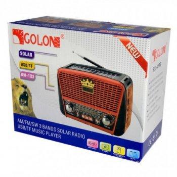 Акустическая система Golon радиоприемник колонка радио на аккумуляторе в ретро стиле с солнечной панелью и фонариком с подсветкой Красный (RX-455)