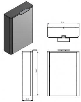Зеркальный шкаф JUVENTA Livorno LvrMC-50 структурный серый