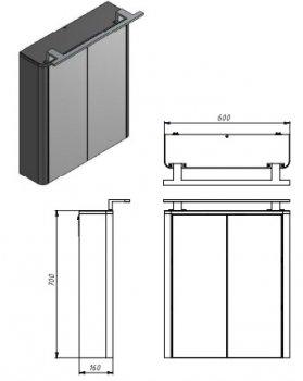 Зеркальный шкаф JUVENTA Livorno LvrMC-60 структурный белый