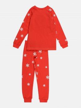 Пижама (футболка с длинными рукавами + штаны) Lito Эльф Снежинки dy-23022 Красный/Зеленый