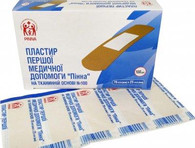 Пластырь первой медицинской помощи Pinna на тканевой основе 76 мм х 25 мм 100 шт (6922163094402)