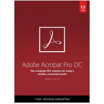 Adobe Acrobat Pro DC for enterprise. Ліцензія для комерційних організацій, річна передплата (VIP Select передплата на 3 роки) на одного користувача в межах замовлення від 50 до 99 (65271311BA13A12)