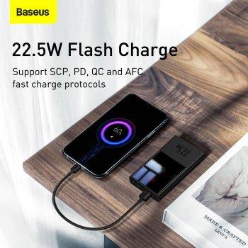 УМБ Baseus Super Mini 10000mAh 22.5 W 5A з технологією QC3.0+PD3.0 + Кабель USB to Type-C Чорний