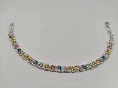 Серебряный женский браслет Арабский Бисмарк с кастом с цветными камнями 17см / 6мм