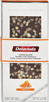 Чорний шоколад Delaviuda з апельсином 120 г (8410223607276)