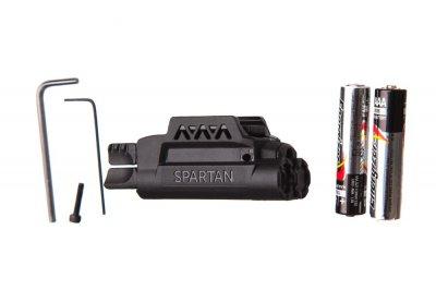 Лазерний целеуказатель LaserMax Spartan з ліхтарем на планку Пикатинни (червоний, 650 нМ, 120 люмен, двостороннє управління)