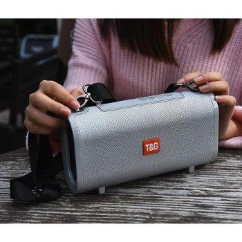 Портативна bluetooth колонка вологостійка TsG TG-123 FM, MP3, радіо Сіра