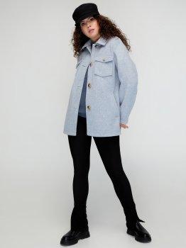 Пальто Miledi 101153 Сіре з блакитним