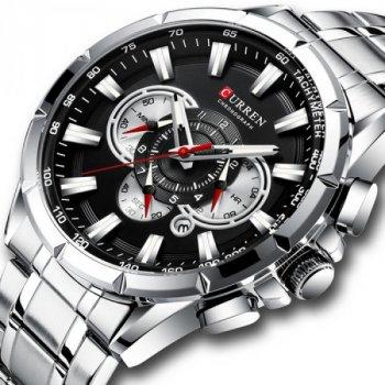 Мужские кварцевые часы Curren Silver наручные классические на стальном браслете + коробка (1008-0261)
