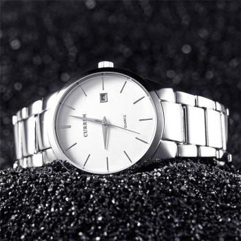 Мужские кварцевые часы Curren Silver наручные классические на стальном браслете + коробка (1008-0224)