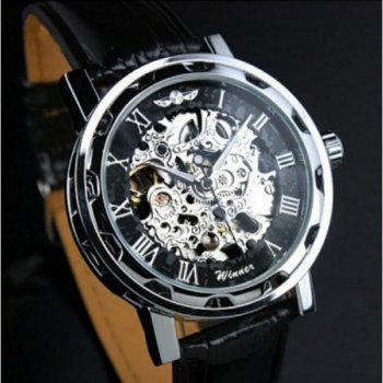 Мужские механичиские часы Winner Silver наручные классические на кожаном ремешке + коробка (1099-0043)