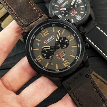 Мужские кварцевые часы Curren Brown наручные классические на кожаном ремешке + коробка (1008-0198)