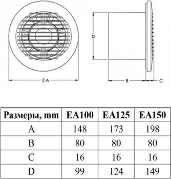 Вытяжной вентилятор EUROPLAST E-Extra EA125HT