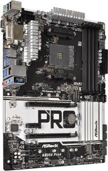 Материнська плата ASRock AB350 Pro4 (sAM4, AMD B350, PCI-Ex16)