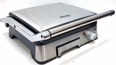 Гриль електричний притискної Dsp KB-1045 з контролем температури і знімними пластинами 1800 Вт Сріблястий (par_KB 1045)