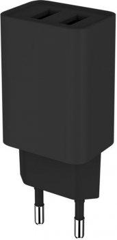 Сетевое зарядное устройство ColorWay 2USB AUTO ID 2.1A (10W) Black (CW-CHS015-BK)