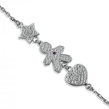 """Серебряный браслет для мамы """"Любимый сыночек"""" размер 16 проба 925 [Black-Pearl]"""