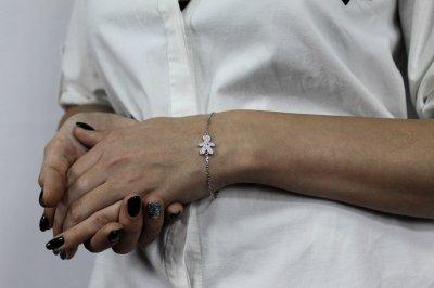 """Серебряный браслет для мамы """"Заботливая мама"""" размер 17,5 проба 925 [Black-Pearl]"""