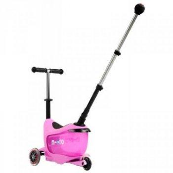 """Самокат MICRO серії """"Mini2go Deluxe"""" - РОЖЕВИЙ (до 50 кг, до 20 kg з сидінням, 3-х колісний)"""