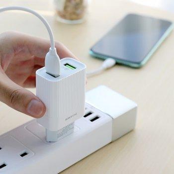 Сетевое зарядное устройство Borofone BA39A 2 USB 18W/3A QC3.0 Lightning белое