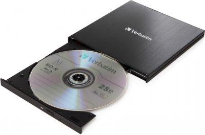 Verbatim Ultra HD 4K External Slimline Blu-ray Writer USB 3.1 Gen1 с разъемом USB Type-C (43888)
