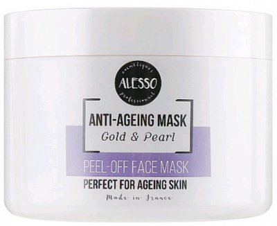 Альгинатная маска для лица Alesso Анти-Эйдж Gold & Pearl омолаживающая 200 г (3273629214432)