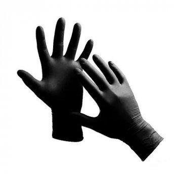 Рукавички Nitrylex basic black медичні нестерильні нітрилові без пудри Розмір XL 100шт в упаковці Чорні