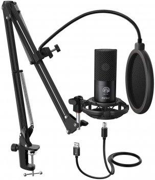 Мікрофон конденсаторний Fifine T669 USB односпрямований зі стійкою для столу Чорний