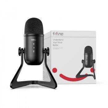 Мікрофон конденсаторний Fifine K678 USB з підставкою і перехідником 5/8 дюйма на 3/8 Чорний
