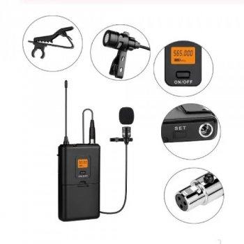 Мікрофон бездротовий, петличний Fifine K037 з вітрозахистом + XLR роз'ємом + передавач з дисплеєм Чорний