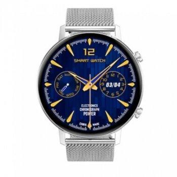 Смарт-годинник Smart DT96 з пульсометром, тонометром + вимірювання рівня кисню в крові + додатковий силіконовий ремінець Сріблястий