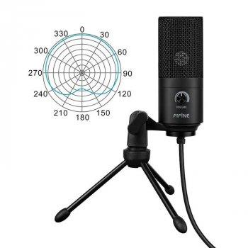 Мікрофон конденсаторний Fifine K669 USB + стійка для столу + тринога Чорний
