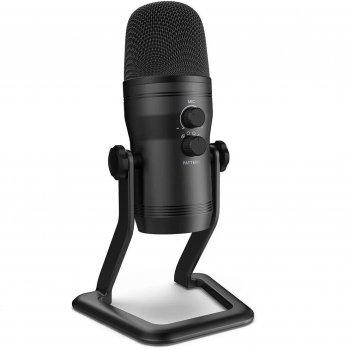 Мікрофон конденсаторний Fifine K690 USB з налаштуванням спрямованості + підставка Чорний