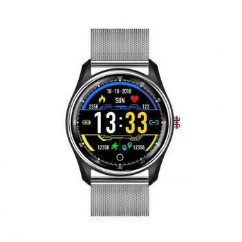 Смарт-годинник Smart MX9 з металевим браслетом + силіконовий ремінець у подарунок + пульсометр, тонометр і ЕКГ Сріблястий