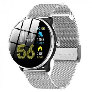 Смарт-годинник Smart MX6 з вимірюванням ЕКГ і пульсометром + тонометр, крокомір і моніторинг сну Сріблястий