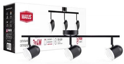 Спотовий світильник MAXUS MSL-01C 3x4W 4100K чорний (3-MSL-11241-CB)