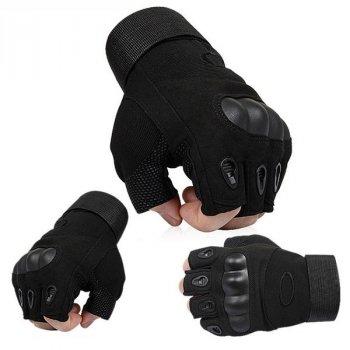 Перчатки тактические Открытые с усиленным протектором OAKLEY Черные XL