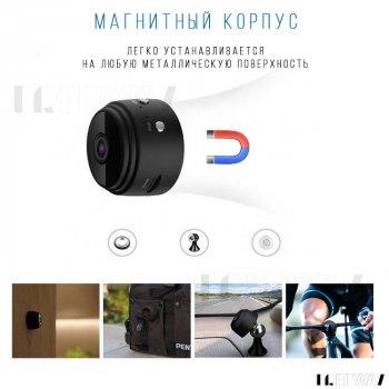Беспроводная мини камера видеонаблюдения с записью для дома WiFi IP Mini A9 1080p Черная