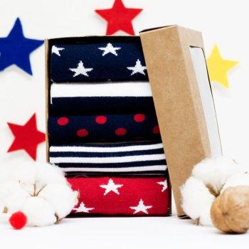Носки The Pair of Socks Star Box 5 пар Синие с красным (41-46)