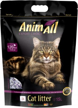 """Наполнитель для кошачьего туалета AnimAll """"Фиолетовый Аметист"""" Премиум Силикагелевый впитывающий 6.7 кг (15 л) (4820224 500621)"""
