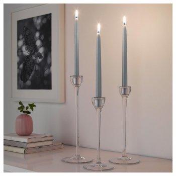 Набор свечей IKEA (ИКЕА) KLOKHET 25см 8 шт серые (204.045.09)