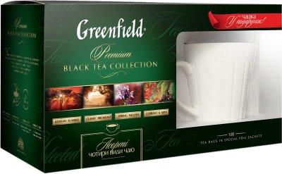 Набор чая Greenfield Kenyan Sunrise, Classic Breakfast, Spring Melody, Currant & Mint 100 пакетиков+чашка (4823096806471)