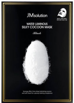 Маска для упругости кожи с протеинами шелка JMsolution Water Luminous Silky Cocoon Mask Black 45 г (8809505543096)