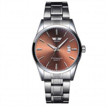 Мужские часы Swidu SWI-021 Silver + Brown (3089-8715а)