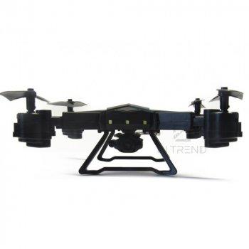 Квадрокоптер CX – 40 W дрон с WiFi управлением с камерой LED-подсветкой - складываемый летающий дрон с пультом управления и держателем для смартфона на аккумуляторе, USB шнур для зарядки, - Черный