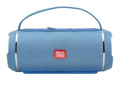 Портативна bluetooth стерео колонка вологостійка T&G 116C з силіконовою ручкою Чорна (116 З Blue)