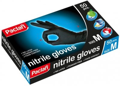 Нитриловые перчатки Paclan Practi М 50 шт Черные (4650086012198)